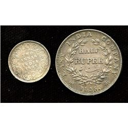 Lot of 2 scarce coins from India, 1892 2 Annas (EF) and 1835 Half Rupee (Calcutta Mint; EF).