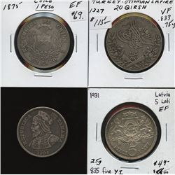 Lot of 4 large world silver coins (1875 to 1931) from Chile, Latvia, Panama, and Turkey