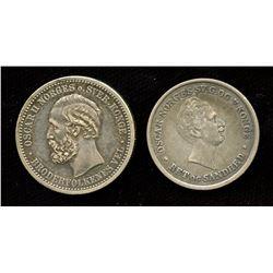 Lot of 2 Norway Silver 1 Krone, (1848, 1889)