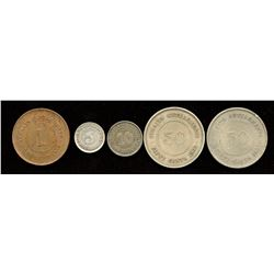 Lot of 5 coins from Straits Settlements