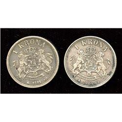 Lot of 2 Sweden silver 1 Krone (1881, 1904)