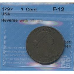 1797 USA 1c (Reverse of 1797) With Stems