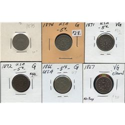 Lot of 6 USA Shield 5c: 1866, 1867, 1871, 1872, 1874, 1875
