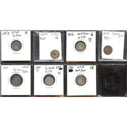 Lot of 7 USA half-dimes, 1853 to 1861