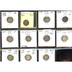 Lot of 11 USA dimes, 1856 to 1912