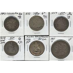 Lot of 6 USA 50c and Morgan Dollar