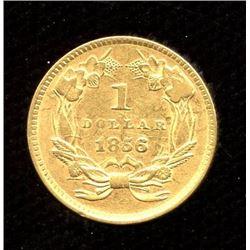 USA $1 gold, 1856 slanted 5 variety