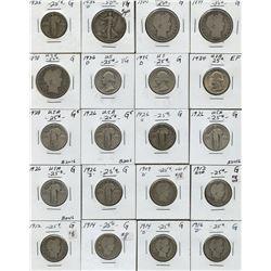 Dealer/bullion lot - carded USA 10c, 25c and 50c