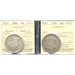 Newfoundland Fifty Cents - ICCS Graded Lot of 2