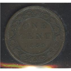 1859 One Cent - Double Punched Narrow 9 Repunched 5