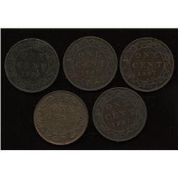 1907H Edward VII Large Cents - Lot of 5