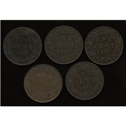 1907H Edward VII Large Cents - Lot of 5