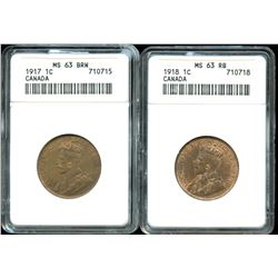 1917 & 1918 One Cent - Lot of 2 ANACS Graded