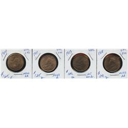 Lot of 4 Mint State One Cent Coins