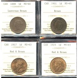 Lot of 4 ICCS Graded Large Cents