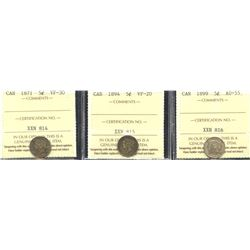 Five Cents - Lot of 3 ICCS Graded Silver Coins