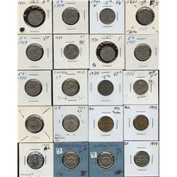 Dealer lot: single row box of carded 5c coins, 1922-2009
