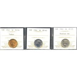Lot of 3 ICCS Graded Five Cents