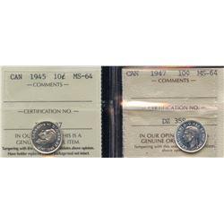 1945 & 1947 ICCS Graded Ten Cents