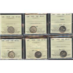 Lot of 6 ICCS Graded Ten Cents