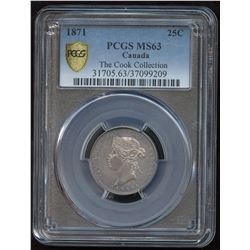 1871 Twenty-Five Cents - Ex: Cook Collection