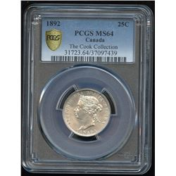 1892 Twenty-Five Cents - Ex: Cook Collection