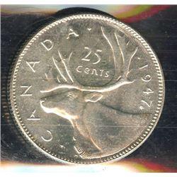 1947 Twenty-Five Cents - Maple Leaf