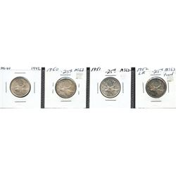 Short set of mint state George VI Twenty-Five Cents - Lot of 4