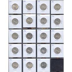 Estate Lot of 19 Canadian Twenty-Five Cents