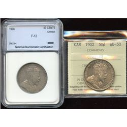 1902 & 1908 Graded Fifty Cents