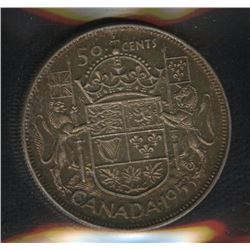1953 Fifty Cents - Large Date, Shoulder Fold