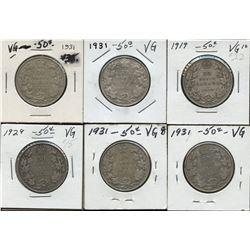 Dealer lot of 6: George V 50c