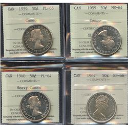 Lot of 4 ICCS Graded Fifty Cents
