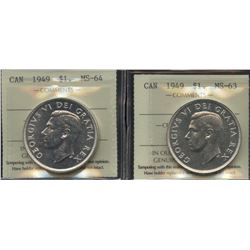 1949 Silver Dollar - Lot of 2 ICCS Graded Coins