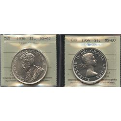 1936 & 1954 ICCS Graded Silver Dollars