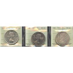 Lot of 3 ICCS Graded Silver Dollars