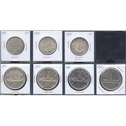 Estate Lot of 7 Canadian Fifty Cents & Silver Dollars