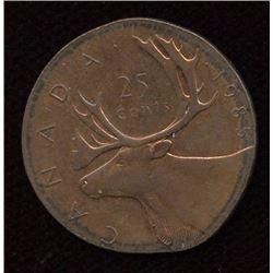 1985 Twenty-Five Cents on 1 Cent Planchet