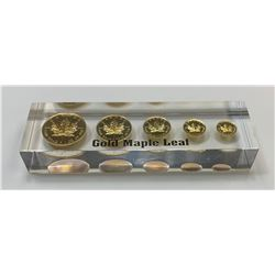 Gold Maple Leaf Uniface Lucite Replica Set from the Royal Canadian Mint