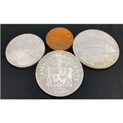 Hand Carved Wooden Coin Replica's - Lot of 4
