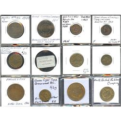 """Lot of 12 US and Canadian 1800s """"good for"""" and advertising tokens"""