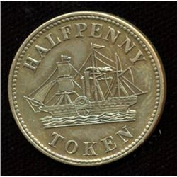 Halfpenny token Canada PEI Fisheries and Agriculture, Br. 921