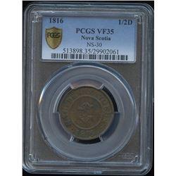 """Nova Scotia """"Anchor/H"""" ½ penny Token, 1816"""