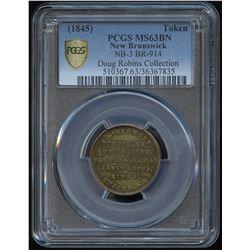 New Brunswick McDermott ½ penny Token, BR 914