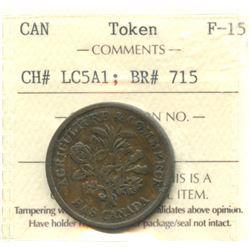 Banque du Peuple Montreal UN SOU, Agriculture & Commerce, 1837 BR715