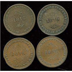 Br. 724.  Lot of four Brock urn tokens.