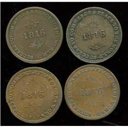 Br. 724.  Lot of four Brock urn tokens.