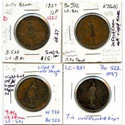 Lot of four Breton 522, 1837 City Bank, Half Penny Tokens.