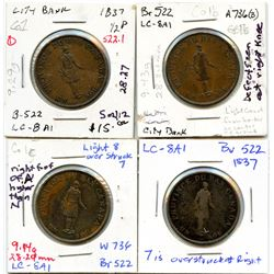 Lot of four Breton 522, 1837 City Bank, Half Penny Tokens.