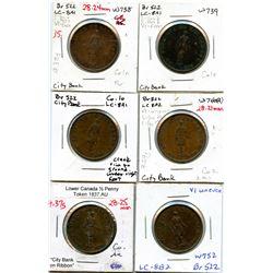Lot of six Breton 522, 1837 City Bank, Half Penny Tokens.